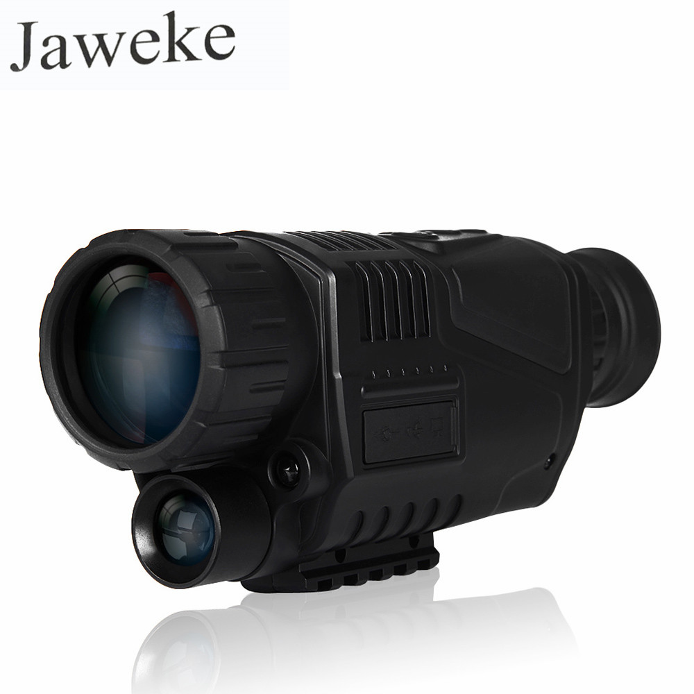 JAWEKE 5MP 5x40 Digital Night Vision Monocular 200m Range for Hunting Take Photos Video IR Infrared