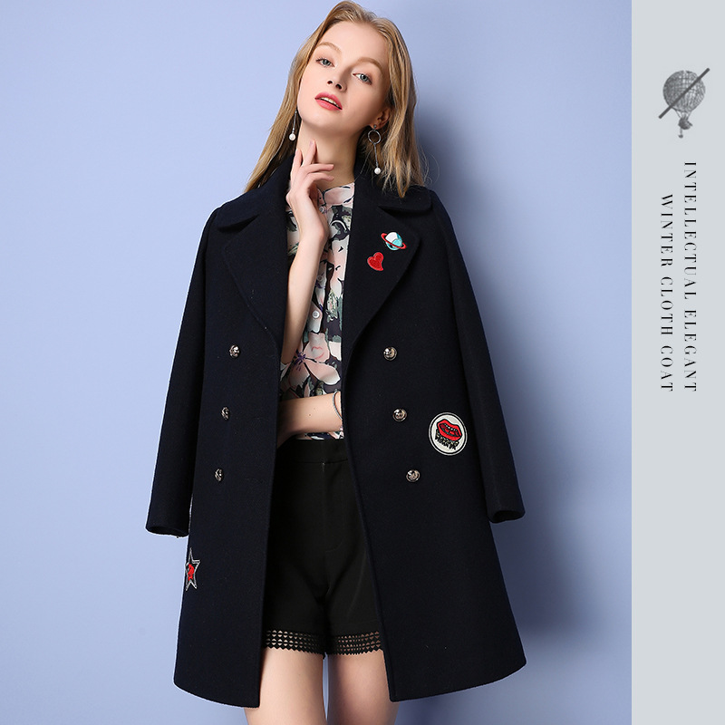 2016 Winter New European Women's Double Breasted Lapel Suit Collar Cartoon Embroidered Wide-waisted Lady Woolen Coat Jackets ves