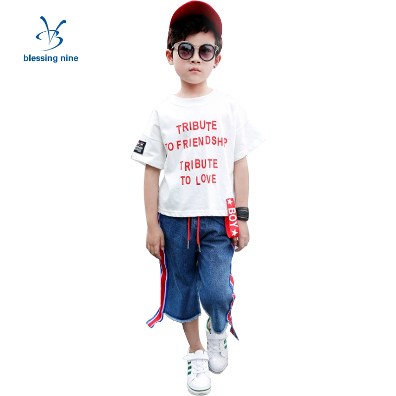 2Pcs 4-14 Years Children Clothing Boys Sets Summer Boys Sport Suits Cotton Short Sleeve Kids Teens Clothes T-shirt+Stripe Jeans 3 8t moana maui boys sets 2017 summer kids t shirt pants sport suits 2pc short sleeve children boys clothings sets suits cs206