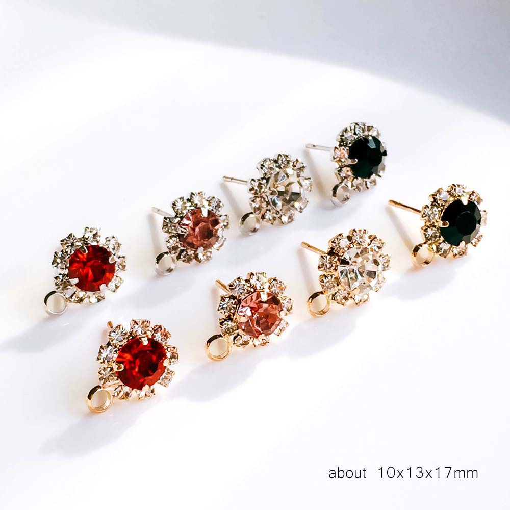 ZEROUP Rhinestone White K Gold Plated Stud Earrings 4 Colors Ear Accessories Jewelry Component Diy Material Handmade 6pcs 4
