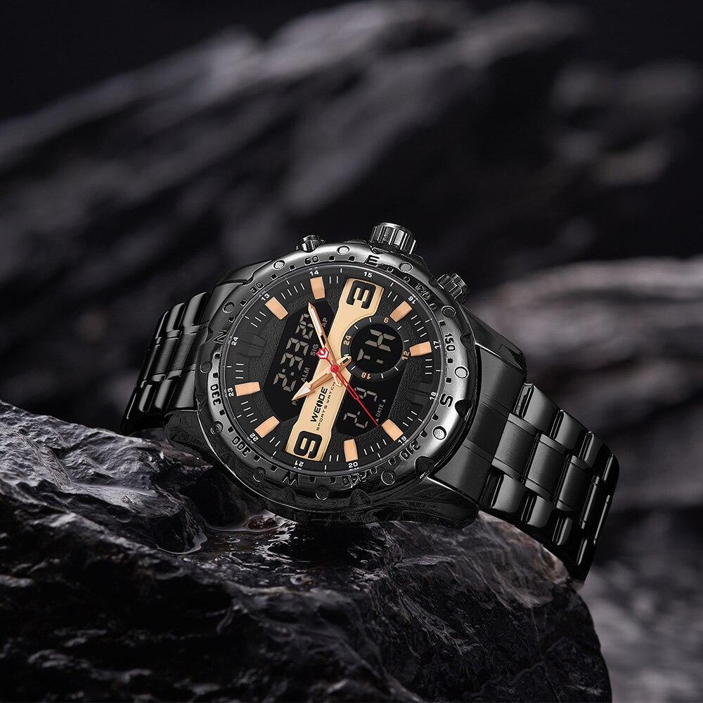 WEIDE Top Luxury Brand Quartz Watches Men LED Digital Clock Man Sports Military Stainless Steel Wrist Watch Relogio masculino 5