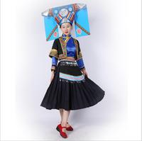 Miao Nationality Women's Clothing Hmong Minority Outfit Hat + Dress China Laos Vietnam Thailand Ethnic Minority Dance Costume