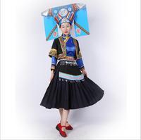 Miao Nationality Women's Clothing Hmong Minority Outfit Hat + Dress China Laos Vietnam Thailand Ethnic Minority Dance Costume