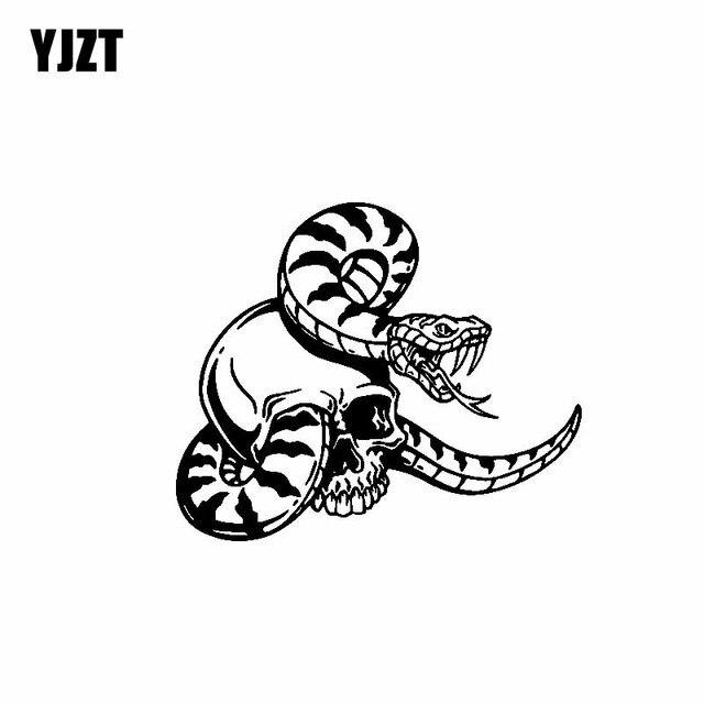 YJZT 15,7 см * 13 см свирепый змея череп в виде змеи нежный красивый прохладный виниловая наклейка автомобиля Стикеры черный/серебристый c19-1054