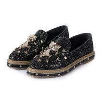 Women's Flats new designer celebrity shoes metal fox animal rhinestone sequined stars rivets spikes slip on ballet flats oxfords