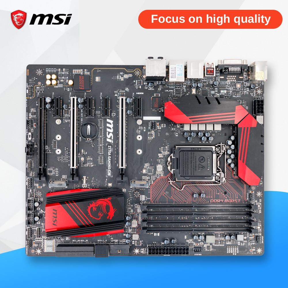 MSI Z170A GAMING M5 Desktop Motherboard Z170 LGA 1151 i3 i5 i7 DDR4 64G M.2 SATA3 USB3.0 SLI asus z170 deluxe original used desktop motherboard z170 socket lga 1151 i7 i5 i3 ddr4 64g sata3 usb3 0 atx