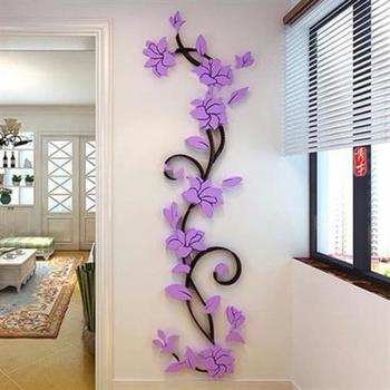 Flower Vine Wall Stickers Home Decor Large Paper Flowers Living Room Bedroom Wall Decor Sticker on The Wallpaper Diy Home Decals 1