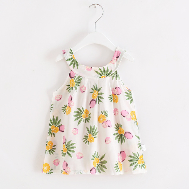 2019 Hot Summer Baby Girl Dress Sleeveless Floral Dress Small Fresh Sweet Style Kids Clothes 2-8 Years 2