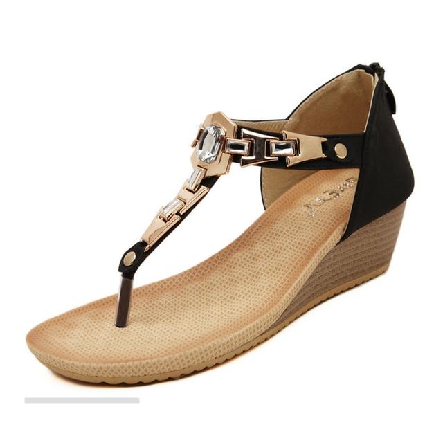 bb2dd960c342 2016 PU Leather Rhinestone Ladies Wedge Sandals Women s Girls Roman  Gladiator Thong Women Platform Sandals Shoes US Size 4.5-9
