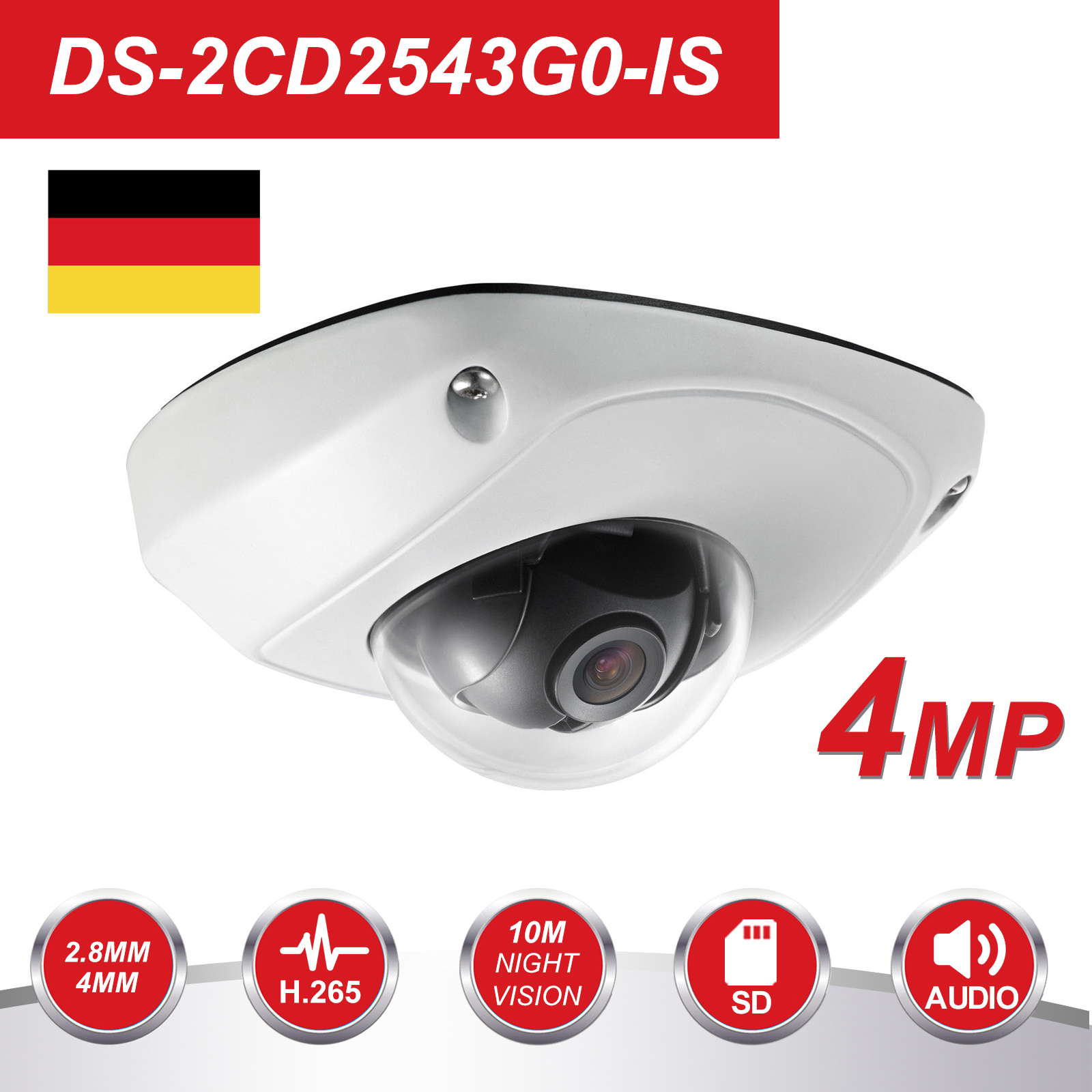 HIK Video Surveillance Camera Outdoor DS-2CD2543G0-IS 4MP IR Fixed Mini Dome Security IP Cameras POE H.265+ Built-in Micro