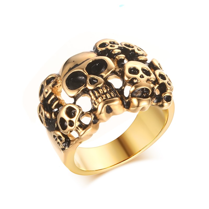 Rings Anillos Punk Rock Skull Mens Ring Plated Skeleton Stainless Steel Party Jewelry For Men 17mm Wide Rc-254