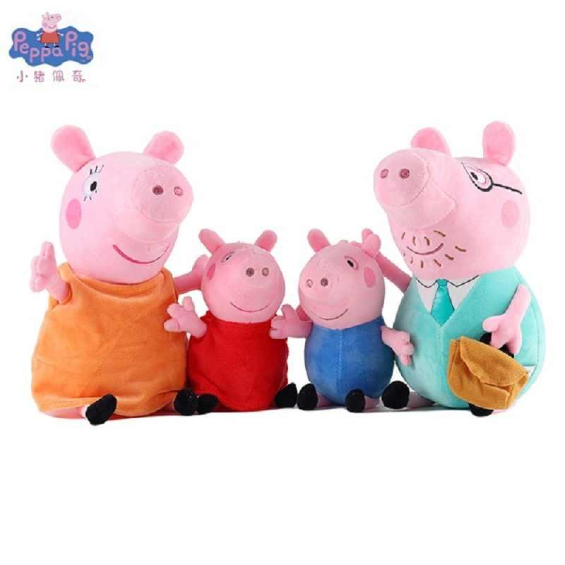 4-pacote Original Peppa Set Família do Porco George Mamãe Pelucia Plush Boneca Bonito Brinquedo de Pelúcia de Presente de Aniversário da Criança