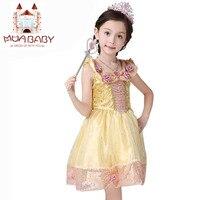 Appliques Princess Belle Dress 2017 Newest Girl Dress Character Sleeveless Cosplay Costume Cute Kids Performance