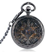 Black Skeleton Hollow Automatic Mechanical Self Winding Fashion Flower Women Mens Necklace Chain Pocket Watch