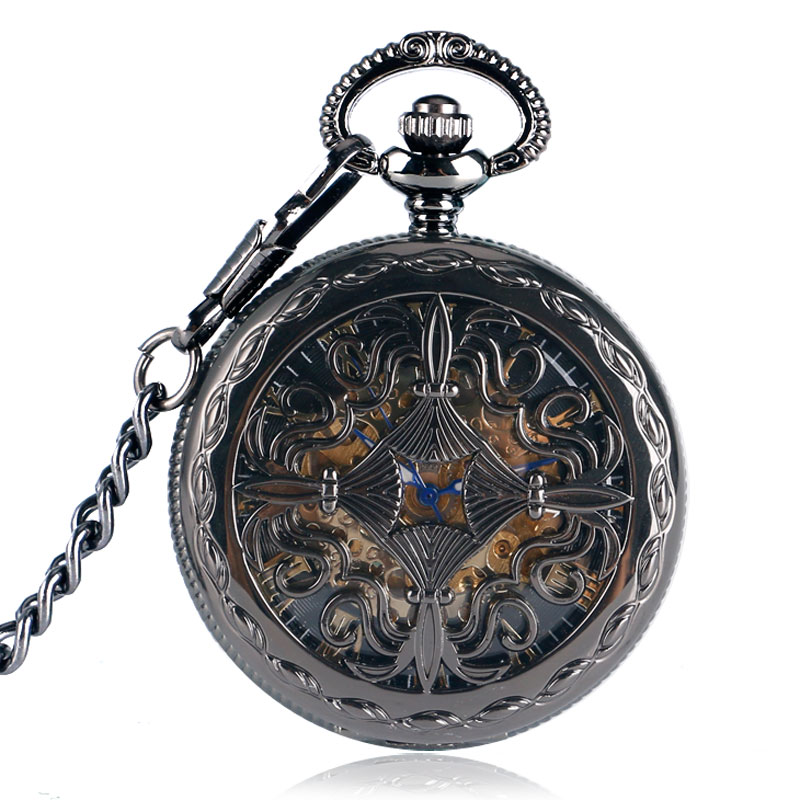 Black Skeleton Hollow Automatic Mechanical Self Winding Fashion Flower Women Mens Necklace Chain Pocket Watch unique smooth case pocket watch mechanical automatic watches with pendant chain necklace men women gift relogio de bolso