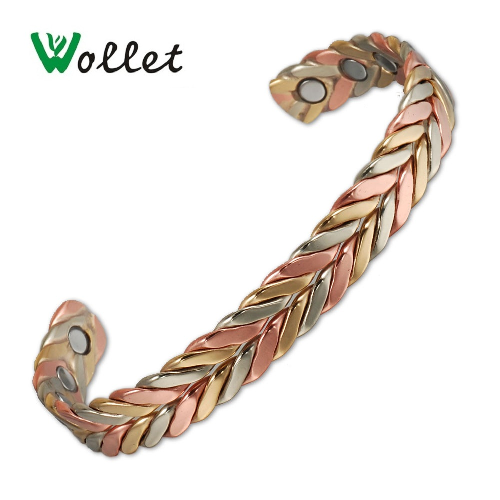 Wollet Jewelry Open Cuff Brazalete de cobre magnético Pulsera para mujer Oro rosa Artritis antifatiga Reumatismo Alivio del dolor