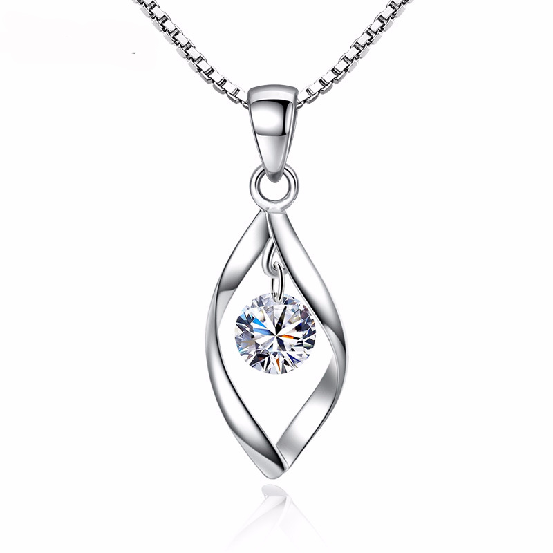 Fashion Pendants Necklaces Crystal Jewelry Women 925 Sterling Silver Statement Necklace for Wedding Engagement Accessory