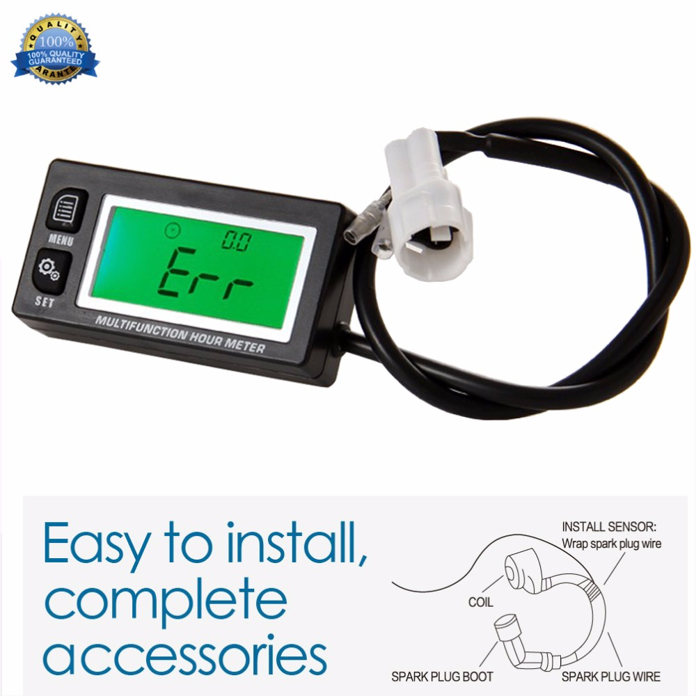 RL-HM028A Inductive Temperature TEMP METER Thermometer Tachometer Max RPM Recall HOUR METER for go carts motorcycle ATV marine