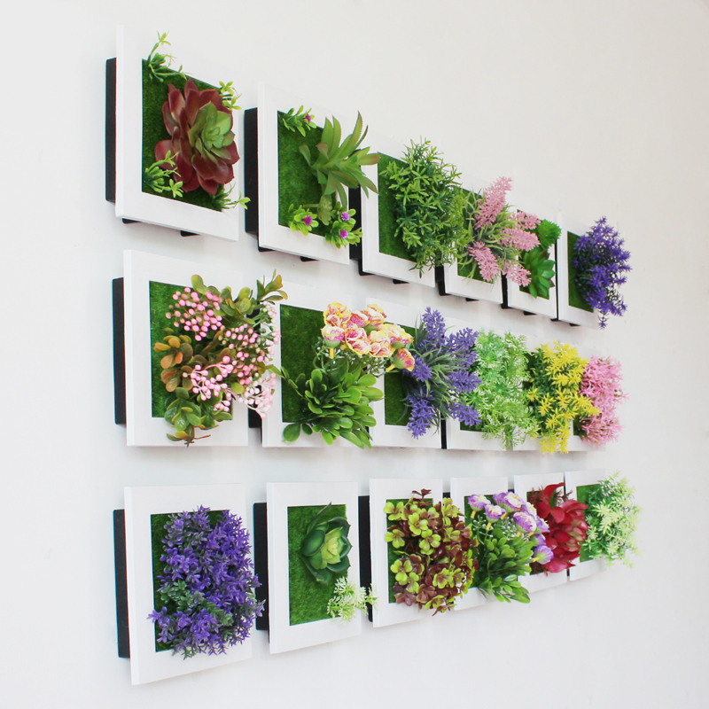 Amenmo 3D Creative succulent plants Imitation wood photo frame wall decoration artificial flowers home decor