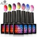 Saviland 6Pcs 10ml Thermal Chameleon Temperature Change Nail Polish Soak UV Gel Shining Colorful Varnish Manicure