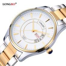LONGBO Amantes Pareja Relojes Hombres de Lujo Fecha Día Impermeable Mujeres de Oro de Acero Inoxidable Reloj de pulsera de Cuarzo Montre Homme 80083