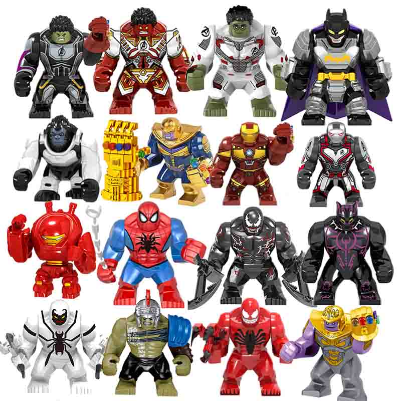 5Pcs Large Thanos Marvel Building Blocks Action Figure Bricks Avengers 4 Hero Hulk Gorilla Duplo