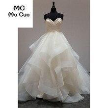 Elegante 2018 vestido de Baile Vestidos Longos com Babados Casamento Mariage Querida Plissado de Organza vestido de noiva Vestido de Noiva