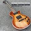Custom Shop Les LP Map Panel Transparent Brown Paul Custom Electric Guitar 6 Strings Guitars Free