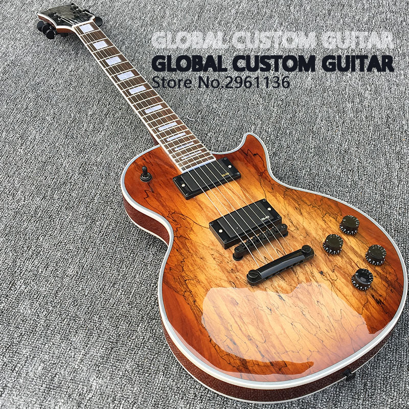 Custom shop, Les LP Map panel transparent brown Paul Custom Electric Guitar,6 Strings Guitars,free shipping 2 holes aluminum alloy guitar truss rod cover bell shape fits for epiphone les paul lp for electric guitar replacement part new