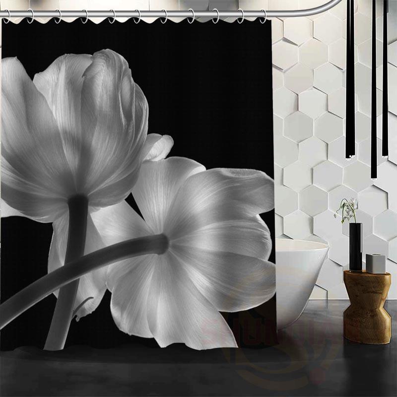 besten nizza benutzerdefinierte schwarz und wei blumen duschvorhang bad vorhang wasserdichtes gewebe fr bad mehr gre