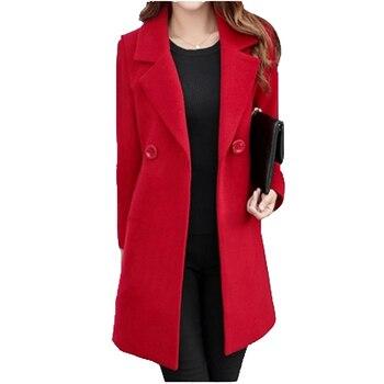 Winter Slim Large size Women Woolen Jacket 2020 New Casual Medium long Solid color Long sleeve Women Woolen Jacket S-4XL SES772 1