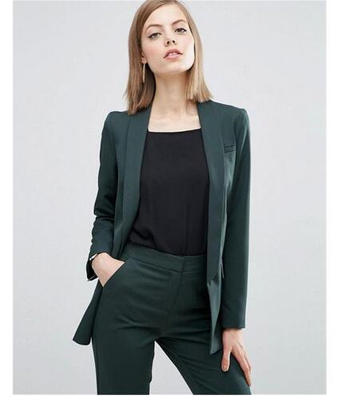 Business Pant Suits for Women Plus Size Green Custom Made Ladies Pantsuit Blazer+Pants for Work Pantsuit for Wedding Party image