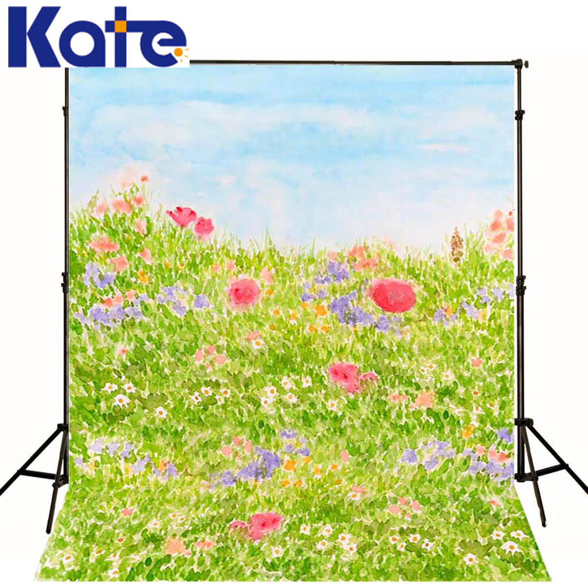 Children Backdrop Spring Meadow Photography Background Children Red Flowers Photography Studio Backgrounds new arrival background fundo meadow flowers gift 300cm 200cm about 10ft 6 5ft width backgrounds lk 3858