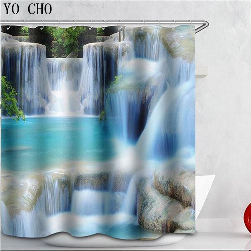 3d Shower Curtain Waterfalls Scenery Dolphins Beach Sea Bathroom Curtain  Fabric Creative Scenery Blue Bath Curtain With Hooks