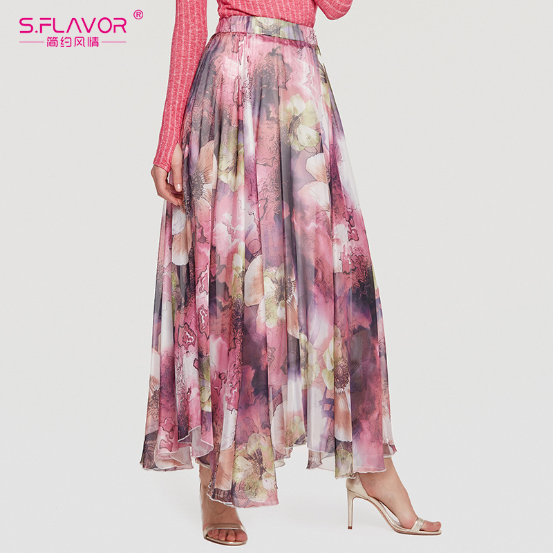 S.FLAVOR Women Floral Print High Waist Loose Long Skirt Women Bohemia Weekend Casual Skirts Beach Weekend Skirt