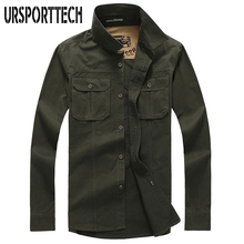 2019 New Cotton Military Shirt Men Long Sleeve Breathable Casual Man Solid Army Green