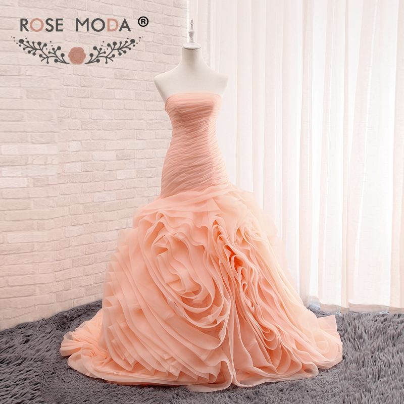 Rose Moda Strapless Blush Pink Peach Trumpet Wedding Dress Vivid Ruffled Organza Bridal Gown Lace Up Back Real Images