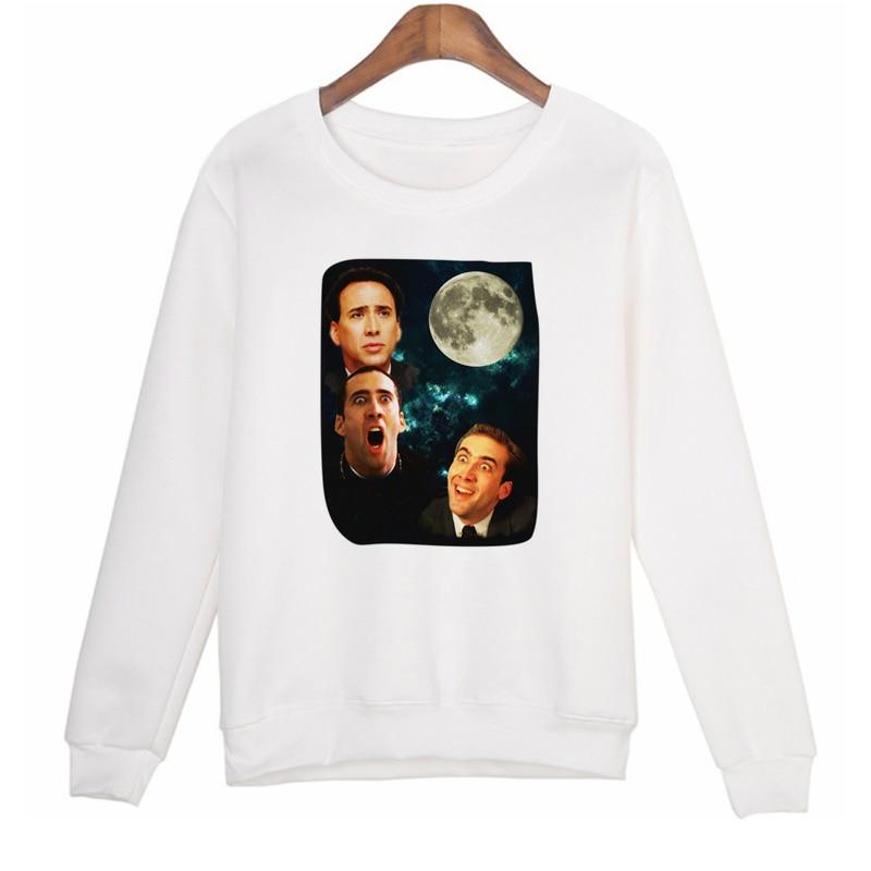 Nicolas Cage printed pullover hoodie sweatshirt Long sleeve fashion women suit casual hoodies shirts hoody sweatshirts Woman