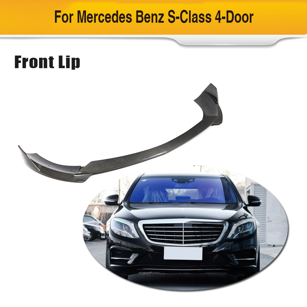 For Mercedes-Benz S Class S400L S500L S600L 4 Door Sport Sedan 2014 - 2017 Carbon Fiber Front Bumper Lip