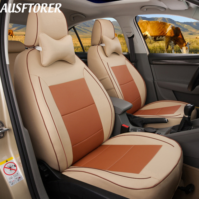 AUSFTORER Custom Cowhide Leather Seat Covers for Volvo XC90 Automobiles Seat Cover Set Protector Supprots Accessories 5 & 7 Seat