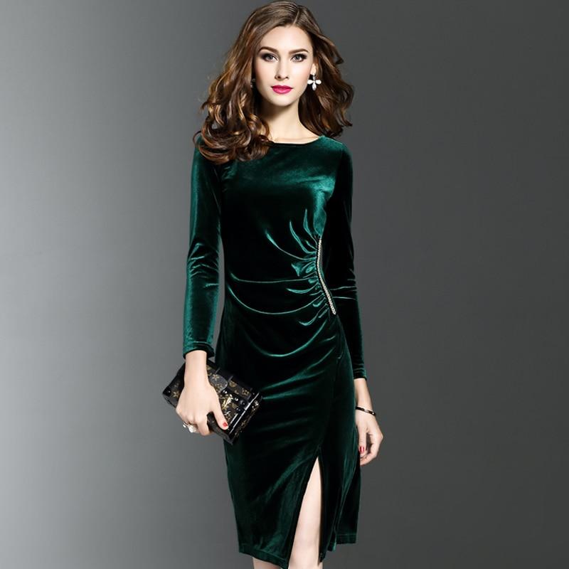 2017 Grande Taille Femmes Velours Robes Printemps Hiver Vert Fonce Femmes Soiree Robe Elegante Slim Robe Femme Automne Hiver Aliexpress