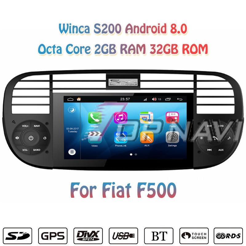 Topnavi 6.2 S200 Octa Core Android 8.0 Car DVD Multimedia Player Radio for Fiat F500 Stereo Radio GPS Navigation 2 Din Video