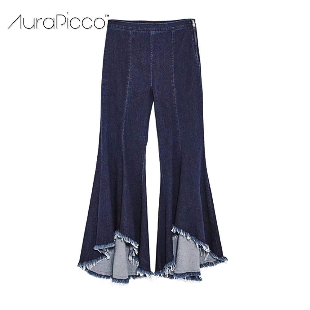 Irregular Fringe Tassel Flare Pants High Waist Ankle-Length Bell Bottom Trousers Dark Blue Denim Jeans for Women 2017 AuraPicco plus size side stripe wide leg blue capris jeans 4xl 7xl oversized tassel irregular fringe ankle length denim pants