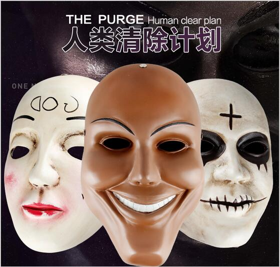 Hot!!! The Purge Mask God Cosplay 2016 Home Decor Collection Horror Movie Masks Full Face Resin Creepy New Scary Halloween Mask image