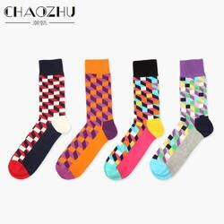 6 цветов Британский Стиль клетчатые носки стиль мужские носки из чистого хлопка wo мужские счастливые носки EUR36-43