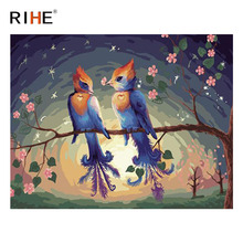 RIHE Bird Branch Diy Painting By Numbers Animal Oil On Canvas Flower Hand Painted Cuadros Decoracion Acrylic Paint 2018