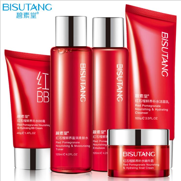 BISUTANG Red Pomegranate Snail Moisture Essence Cream Face Cream Skin Care Sets Whitening Anti Aging Wrinkle BB Cream Facial hankey new brand snail essence face cream skin care whitening moisturizing oil control anti aging anti wrinkle natural beauty