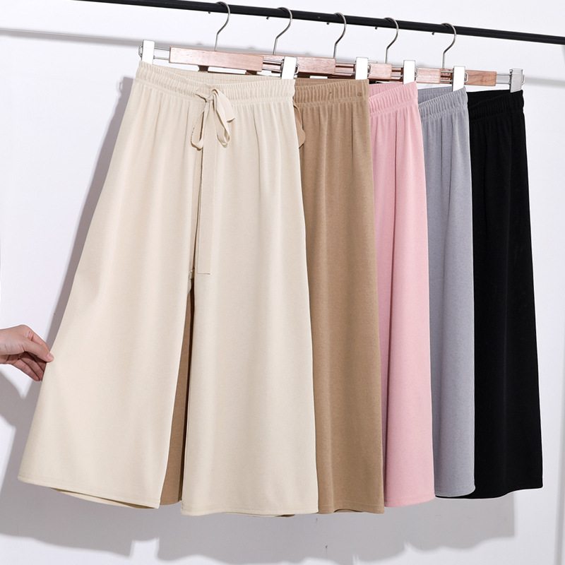 2019 Women Long Pants Seven Pant Girl New Summer Wide-legged Pants Since Drape Thin Waist Straight Female Leisure Trousers