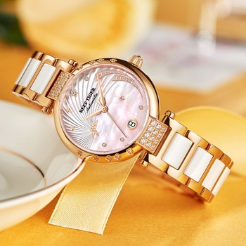 Reef Tiger/RT Top Brand Luxury Women Watch Ceramic Rose Gold Bracelet Diamond Automatic Mechanical Shell Watches Clock RGA1592 3