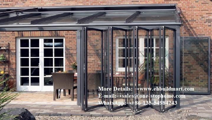 Bifold Glass Doors Interior,Room Dividers Soundproof Insulated Glass,Waterproof Veranda Double Glazing Aluminum Folding Door